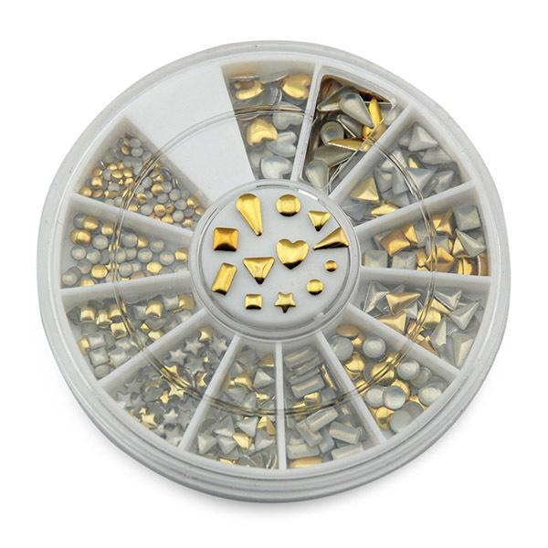 KADS nail art metallic Flakes nail art decorations 3d nails accessories design bling metal flake metallic mixed gold&Silver(China (Mainland))
