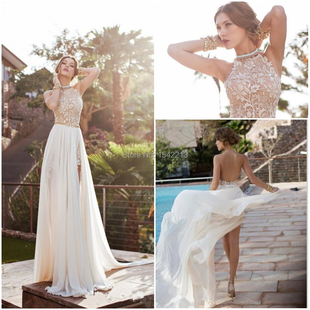 Buy vestido de renda high neck backless for Lace beach wedding dresses
