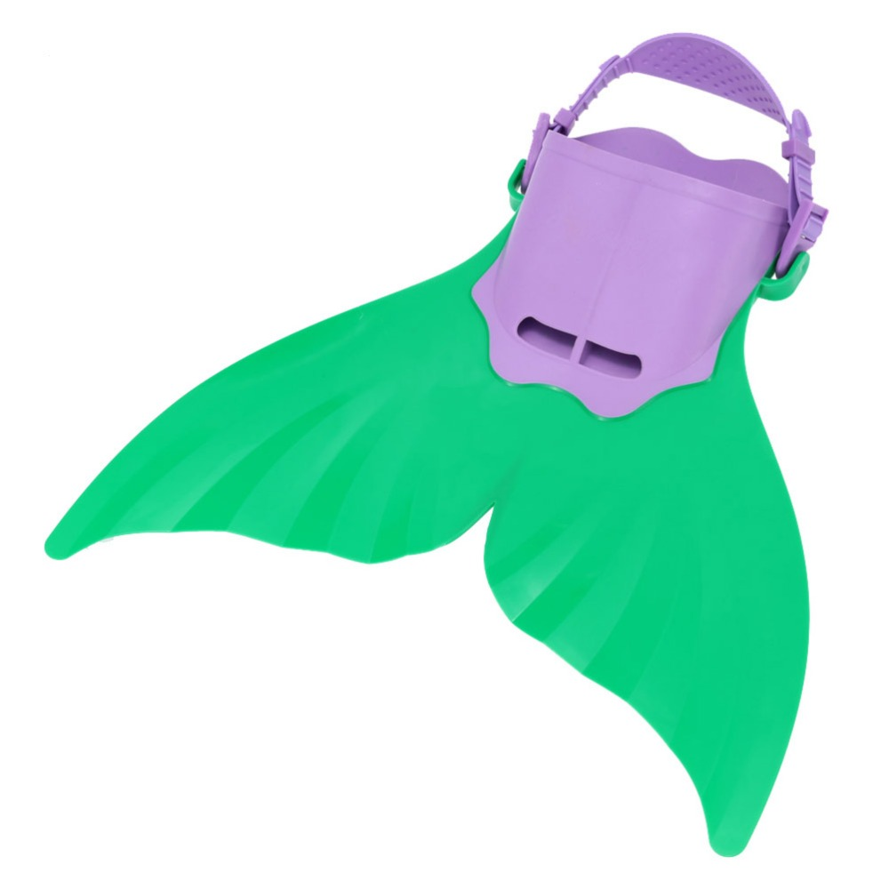 Adjustable Mermaid Monofin Flipper Wave Fins Kid Free Swimming Fins Training Shoes Diving Scuba Feet Tail Green and Purple Color(China (Mainland))
