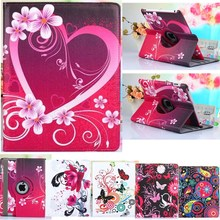 360 Degrees Rotate Lovely Tablet Case For Apple Ipad Air 1 Case Stand PU Leather Cover For Apple Ipad 5 Case Flower Girl Strap(China (Mainland))