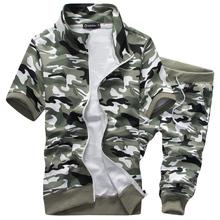 2016 summer men short sleeve tracksuit sport hoodies suit camouflage military sweatshirts M-3XL BYG31(China (Mainland))