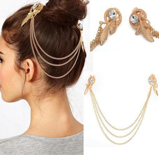 Fashion headwear Gold plated Head Chain Women crystal Headband Metal Chain Hair Head Wrap fine Jewelry Wholesale hair jewelry(China (Mainland))