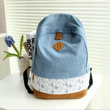 Women Fresh Denim Lace Backpack Girls Teenager School Bags Ladies Casual Travel Canvas Backpack Free Shipping