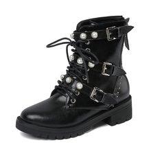 Coolcept Hakiki Deri Eğlence Martin Çizmeler Inci Kadın Ayakkabı Rahat 3 Tokaları Çizmeler Ayakkabı Kadın Kadın Çizme Boyutu 34- 39(China)