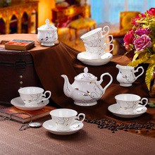 Free shipping 15pcs china bone porcelain coffee pot set/Ceramic coffee cup set ,perfect wedding ,birthday gift