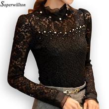 Soperwillton New 2016 Lace Blusas Femininas Shirt women Blouses Black Tops Plus Size Camisa Clothing Renda vestidos Vintage #A88(China (Mainland))