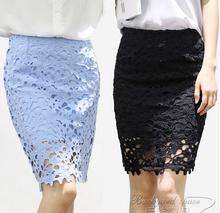 2016 summer crochet White lace pencil skirts women OL high waist knee-length sexy bodycon package hip skirts Saias Femininas