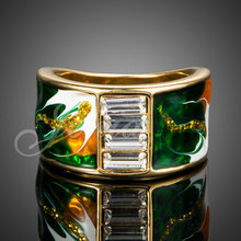 18K Real Gold Plated Austrian Crystal Fashion Oil Painting Rings Brand for Men FREE SHIPPING (XR117)(China (Mainland))