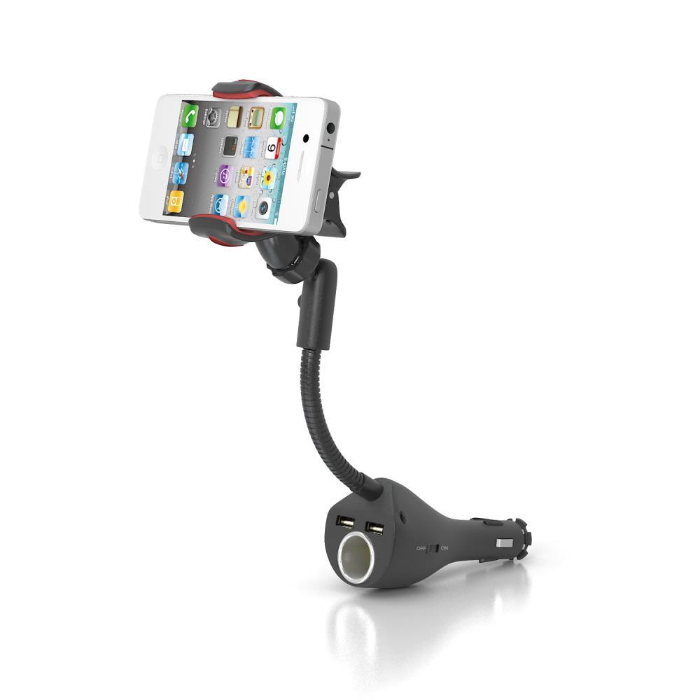 Multifunction Car phone holder Clamp car mount for mobile phone car holder with dual USB charger slot +cigar socket HC44J