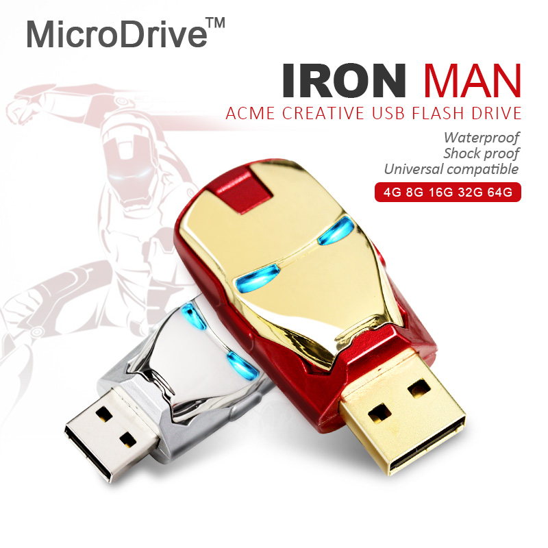 64GB 8G 16G 32G Flawless Avengers Iron Man LED Flash 2G 4G USB Flash 2.0 Memory Drive Stick Pen/Thumb(China (Mainland))