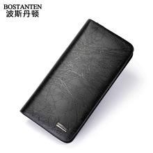 Man 100% Genuine Leather Business Purse Fashion Men'S Cowhide Clutch Bag Soft Thin Handbag Authentic Vintage Luxury Long Wallet
