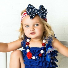 4th of July Baby Headband Cotton Girls Turban Head Wraps Jersey Knit Big Bow Baby Knotted Headband 5pcs HB200