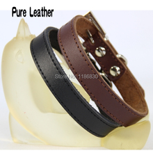 Brown black leather leather dog collar XS S M L XL alloy buckle Baoyou 2014 new pet dog