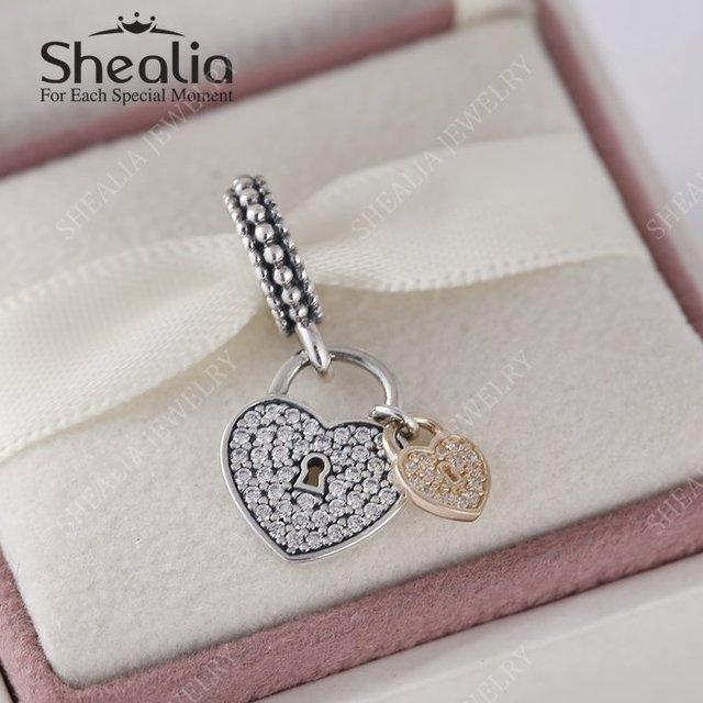 Shealia стерлингового серебра 925 с реальными 14 К чистого золота вымощает CZ любовь замки в форме сердца качает бусины 2016 день святого валентина лучшие подарки