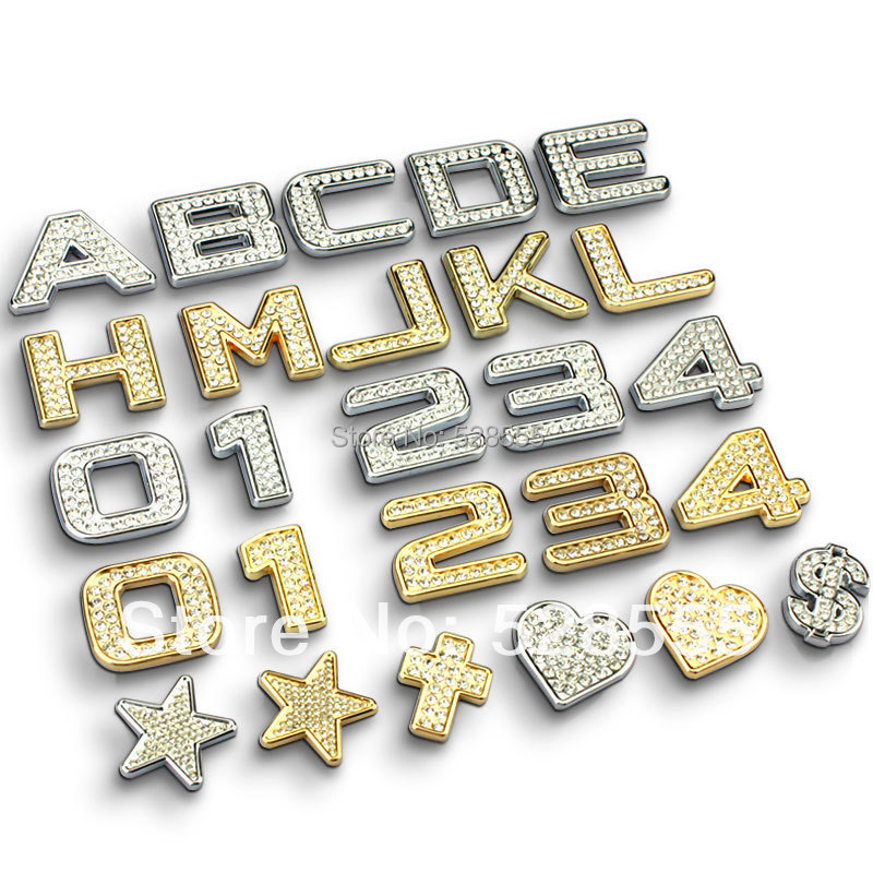 Freeshipping 1piece/lot crystal diamond letters decorative car styling ,personality metal diamond decor car stiker for car tail(China (Mainland))