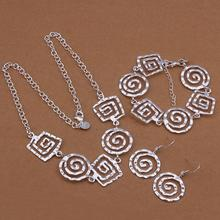 2015 New wholesale 925 sterling silver jewelry set HUPI Bracelet+Necklace, fashion jewelry, factory price(China (Mainland))