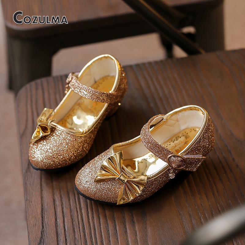 2016 Autumn Girls Leather Shoes Kids Girls 3cm High Heels Bowtie Princess Party Shoes Children High Heels Wedding Dress Shoes(China (Mainland))