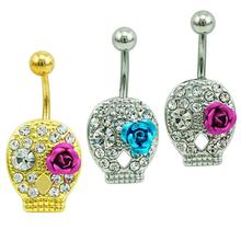 1pc Sexy 3 Color Skeleton Head Crystal Piercing Rings Alloy Skull Dangle Belly Rings for Women Summer Body Accessories Jewelry