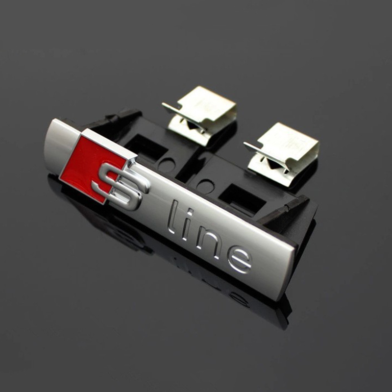 1 pcs S LINE Metal 3D Car Front Hood Grill Badge Grille Emblem Logo Race for Audi A1 A3 A4 A5 A6 A7 A8 Q3 Q5 Q7 TT free shipping(China (Mainland))