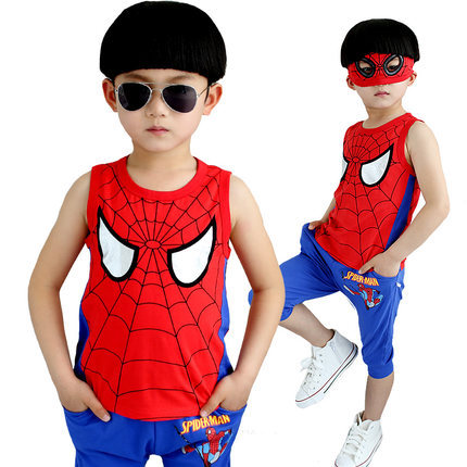 2 Pieces Suit Spiderman 2015 Summer Children Clothing Sets Baby Kids Boy Sleeveless Vest + Shorts Spider-Man Sport Clothing Sets(China (Mainland))