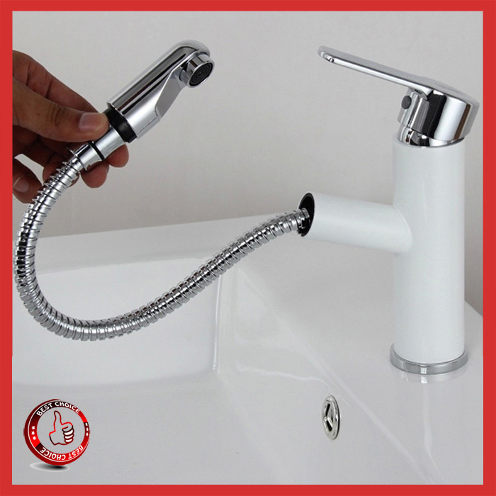 White Color Luxury Brass Pull Out Bathroom Faucet Ceramic Contemporary Single Handle Basin