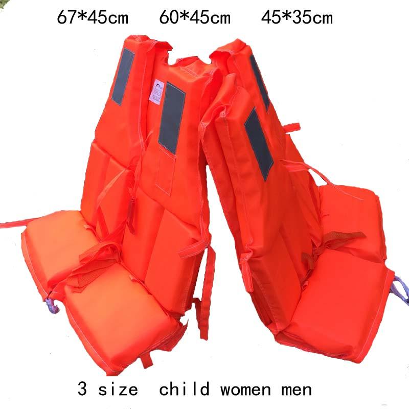 three size Orange Fishing Rafting Drift Adult Foam Life Jacket Vest Flotation Device + Survival Whistle 1pc(China (Mainland))
