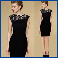2015 Summer Style New Arrival  Exclusive Women Dress Stretch Evening Party Casual Lace Slim Bodycon Pencil Dresses Free Shipping
