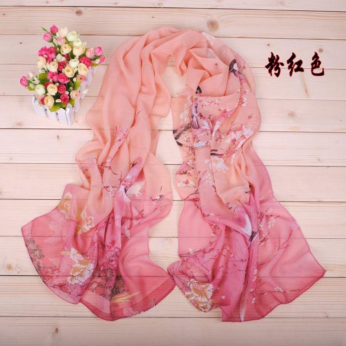 2014 New arrival High Quality Fashion Chiffon Scarf 6 style Gradual colors georgette female silk scarves shawl Free shipping(China (Mainland))