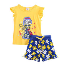 New 2016 summer baby girl clothing sets fashion Cotton T-shirt and pants girls clothes set