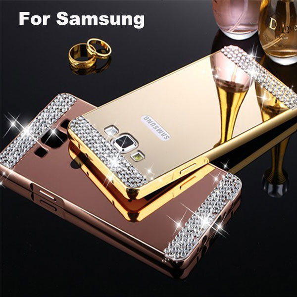 Luxury Aluminum Metal Mirror Plating Hard Back Cover For Samsung Galaxy A3 A5 A7 J1 J2 J3 J5 J7 2016 A8 S6 S7 edge Diamond Case(China (Mainland))