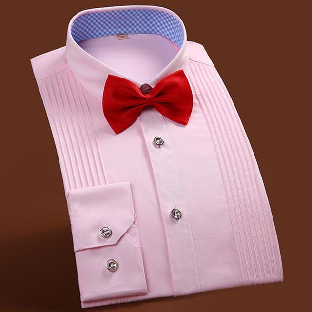 Высокая - конец мужская смокинг сплошной цвет с длинными рукавами рубашка свадьба ...