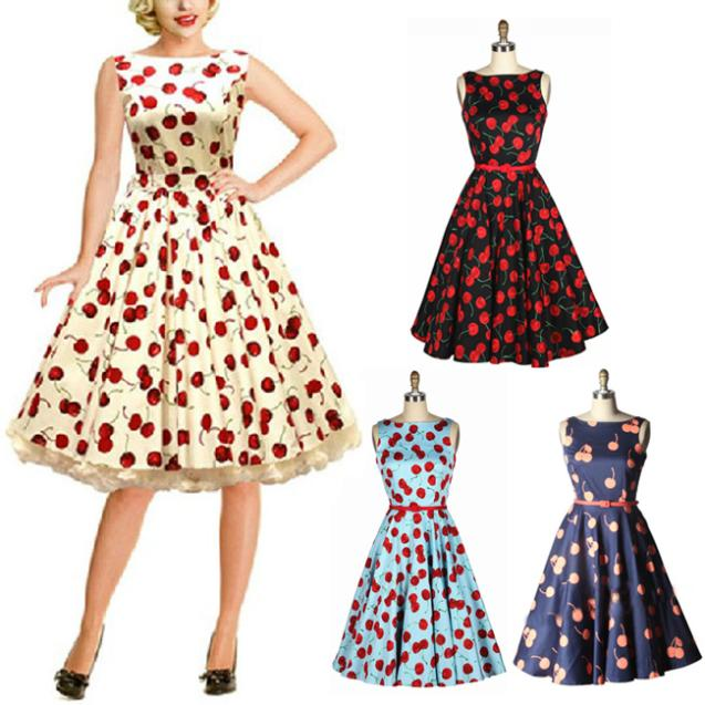 50s retro cherry print pattern word collar pinup