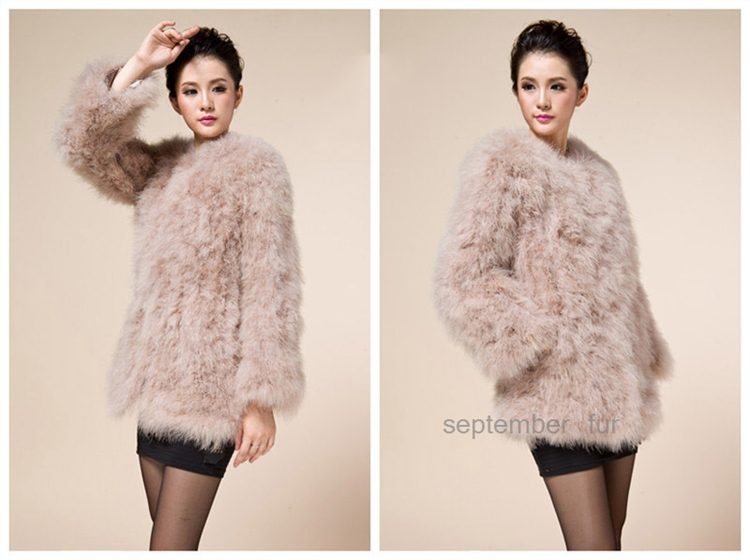 autumn winter natural ostrich fur coat real turkey fur coat for women fashion colorful genuine overcoat overcoat lady grament