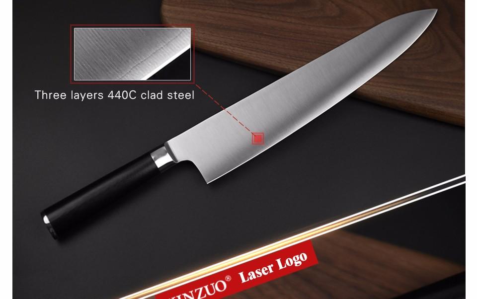 Buy XINZUO 10.5 inch butcher knife Germany 1.4116 steel santoku knife kitchen knife G10 handle Japanese chef knife free shipping cheap