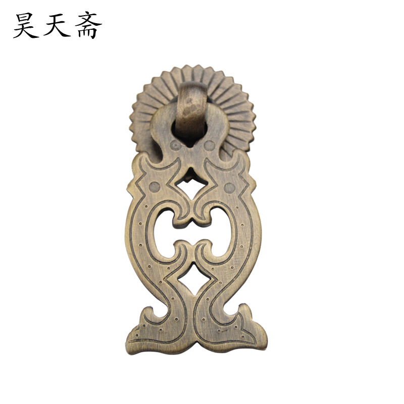 [Haotian vegetarian] Chinese Ming and Qing furniture accessories doors drawer handle copper Dragons HTE-165<br><br>Aliexpress
