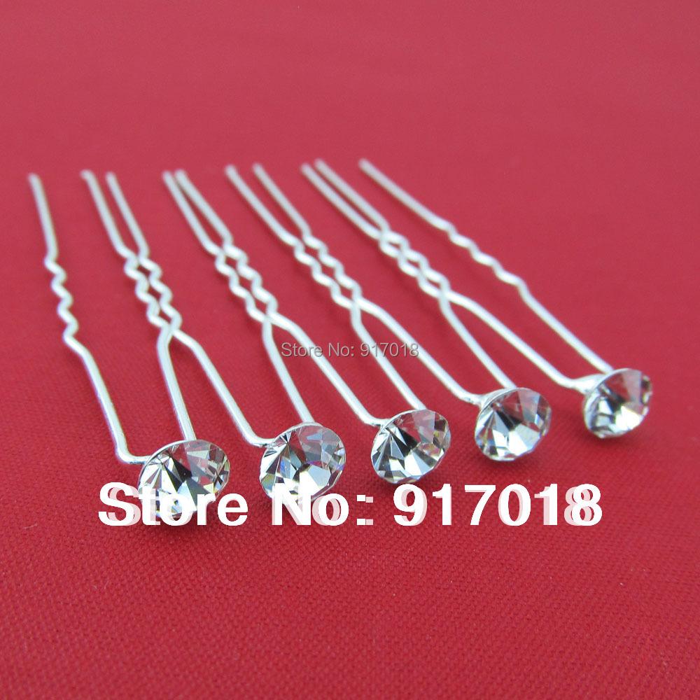 Wholesale 20pcs Lot Clear 6mm Crystal Rhinestone Wedding Bridal Hair Accessories Hair Pin Clips Grips Women Head Hair Jewelry(China (Mainland))
