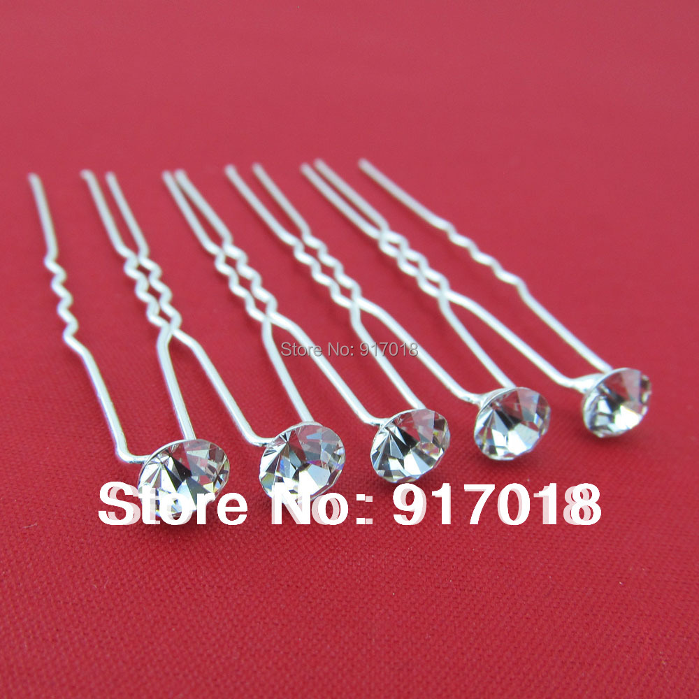 Wholesale 20pcs Lot Clear 6mm Crystal Rhinestone Wedding Bridal Hair Accessories Hair Pin Clips Grips Women Head Hair Jewelry(China (Mainland))