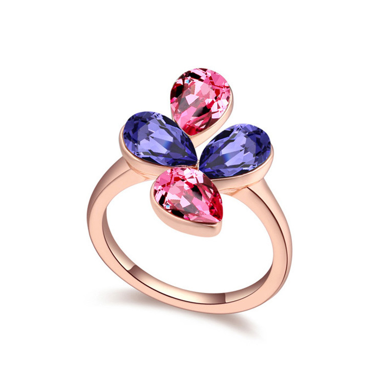 Wholesale 2015 Bohemian Crystal Ring Made with Swarovski Elements Rose Gold Bijoux for Women Engagement Wedding Accessories(China (Mainland))