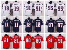 100% Stitiched,New England Patriots,Tom Brady,Rob Gronkowski,Julian Edelman,Chandler Jones,Jamie Collins,Danny Amendola(China (Mainland))
