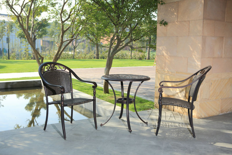 RATTAN BISTRO SET 3 PIECE FURNITURE TABLE AND CHAIRS GARDEN WEATHERPROOF  OUTDOOR(China (Mainland