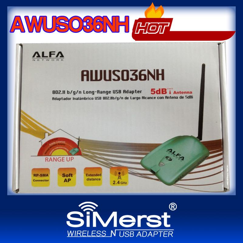 Free shipping! Latest High Power 2000MW WiFi USB Adapter Alfa AWUS036NH Wifi Wireless USB Adapter with 5dbi antenna network(China (Mainland))