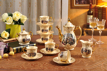 European royal style coffee set tea set ceramic coffee cup and saucer suit afternoon tea set