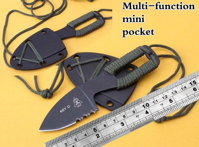 Mini half tooth neck knife/necklace knife/black7Cr13 steel scabbard ABS/ outdoor camping fixed hunting knife/faca militar EDC(China (Mainland))