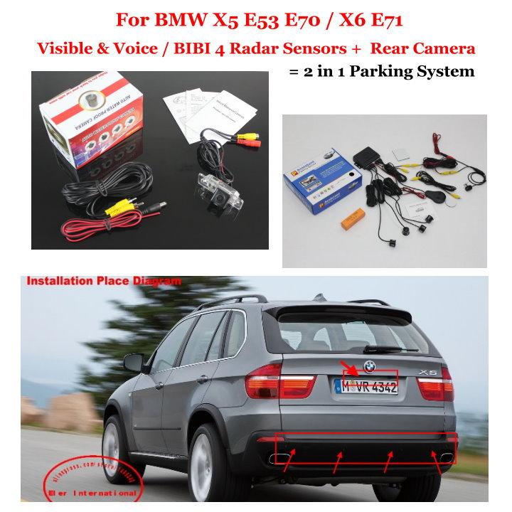 Car Parking Sensors + Rear View Back Up Camera = 2 in 1 Visual / BIBI Alarm Parking System For BMW X5 E53 E70 / X6 E71
