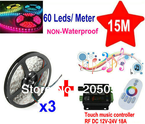 DC12V 15M 5050 SMD 60Leds/M RGB Flexible LED Strip Light Non-Waterproof 3*5M +Music Sound Touch Controller RF audio Remote 18A(China (Mainland))