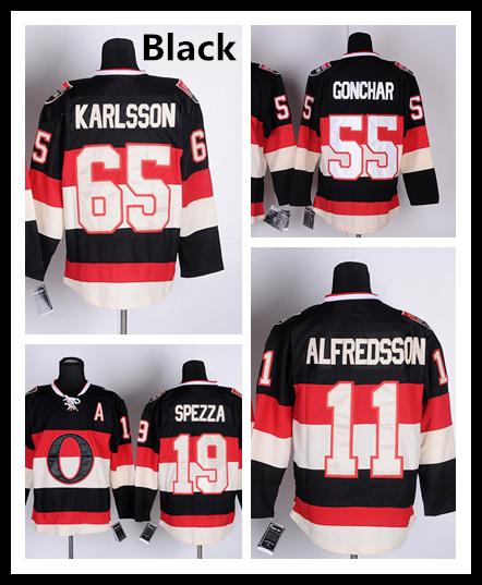 11 Daniel Alfredsson 65 Erik Karlsson Men 2016 19 Jason Spezza Home Ice Hockey Jersey 25 Chris Neil Jersey black white yellow(China (Mainland))