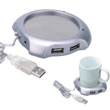 Wholesale Free Shipping Dropship New USB 4 Ports Hub Warm Coffee Cup Warmer Gadget Heater