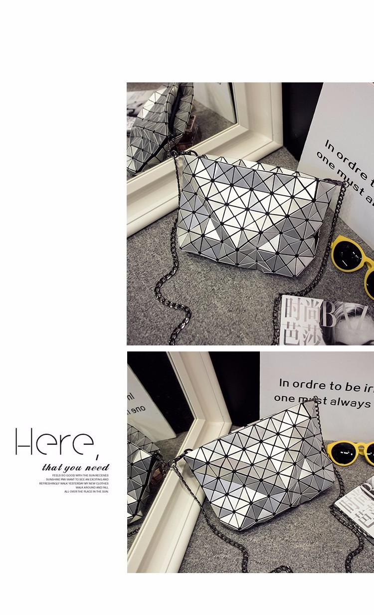 Edgy Geometric Plaid Chain Bag Fashion Rhombic Chequer Shoulder Bag Women Crossbody Bag Stylish Ladies Designer Black PU Bag