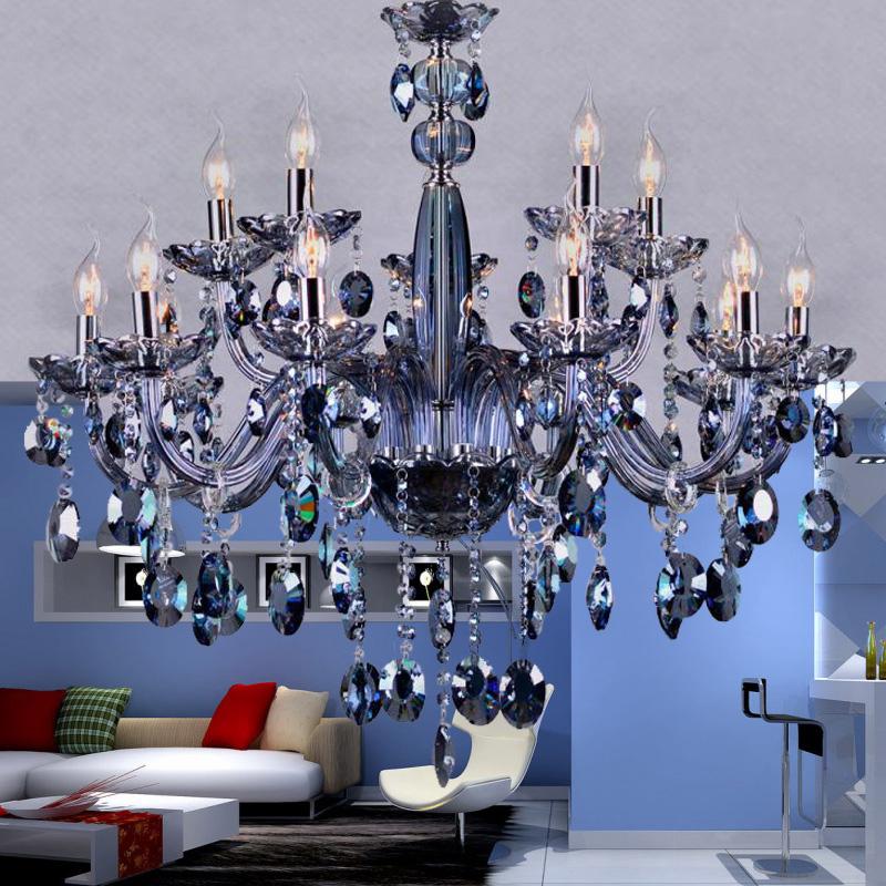 15 lights Romantic wedding room chandelier lighting modern crystal chandelier blue color living room bedroom luxury chandelier <br><br>Aliexpress