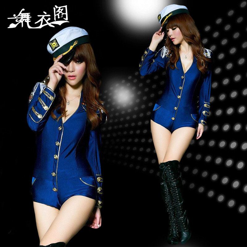2015 Sexy Stage Nightclub Jumpsuit Navy Police Uniforms DS Lead Dancer Suite Factory Sale Free Shipping XTZ108(China (Mainland))